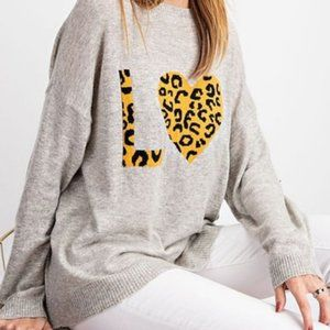 NWT Easel Leoaprd LOVE Heart Sweater